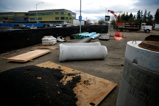 Construction for the new Union Gospel Mission building, next to the existing UGM Mission Store and across Commercial St. NE from the new Salem Police facility still under construction, on Feb. 7, 2020.