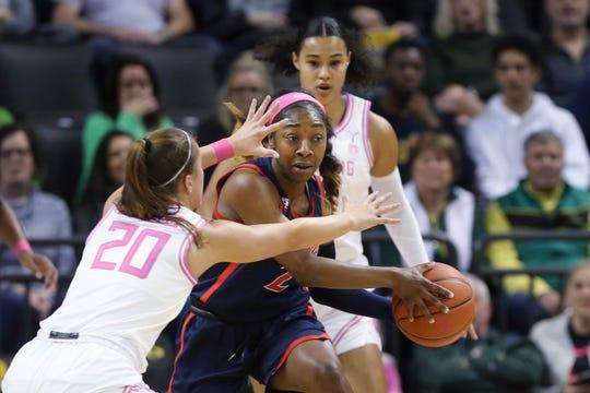Arizona Oregon's Sabrina Ionescu, left, and Satou Sabally pressure Arizona's Aari McDonald during the second quarter of an NCAA college basketball game in Eugene, Ore., Friday, Feb. 7, 2020.