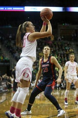 Oregon's Sabrina Ionescu, left, shpots past Arizona's Helena Pueyo during the first quarter of an NCAA college basketball game in Eugene, Ore., Friday, Feb. 7, 2020.