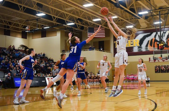 Brecli Honner of Harrisburg shoots the ball while Emma Ronsiek of O'Gorman jumps too late to block it during their game on Thursday, Feb. 6, at Harrisburg High School.