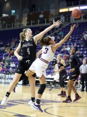 Missouri State's Abby Hipp tries to block a shot by Northern Iowa's Karli Rucker during action at the McLeod Center in Cedar Falls, Iowa, Friday Feb. 7, 2020.