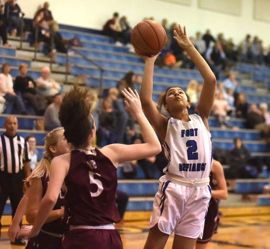 Fort Defiance's Kirby Ransome finished with a game-high 23 points against Stuarts Draft in a Shenandoah District basketball game at Fort's Don Landes Gym.