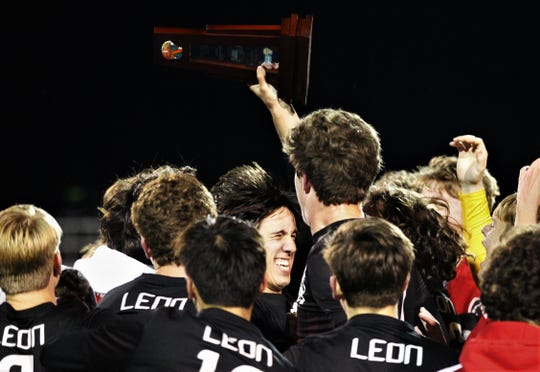 Leon senior Henry Regalado celebrates as Leon's boys soccer team beat Ocala Forest 6-0 in the District 2-6A final on Feb. 7, 2020