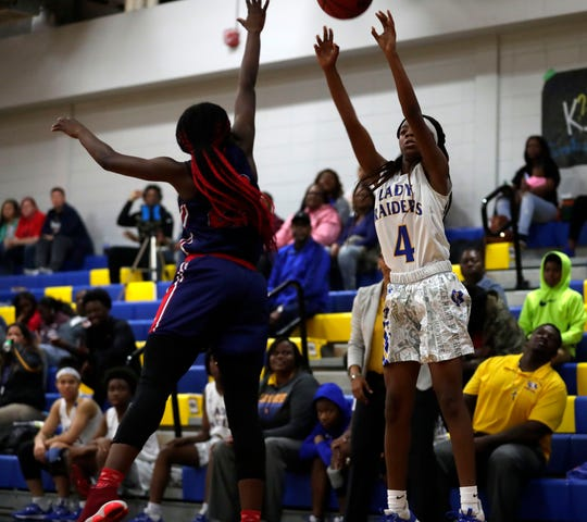 Rickards sophomore guard Jakiyah Robinson scored 15 points in a 69-31 win versus the Wakulla War Eagles 69-31 on Friday, Feb. 7, 2020 in the District 2-5A championship game.