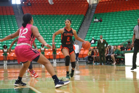 FAMU freshman guard Alaina Rice looks to dribble by Curstyn Moore of Howard in a women's basketball game on Saturday, Feb. 8, 2020 inside the Al Lawson Multipurpose Center.