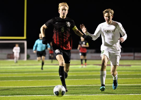 Leon senior Nick Ramsden chases a through ball as Leon's boys soccer team beat Ocala Forest 6-0 in the District 2-6A final on Feb. 7, 2020