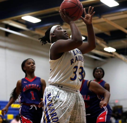 Rickards sophomore forward McKenzi Lyons goes up for a basket as the Raiders beat Wakulla on Friday, Feb. 7, 2020.