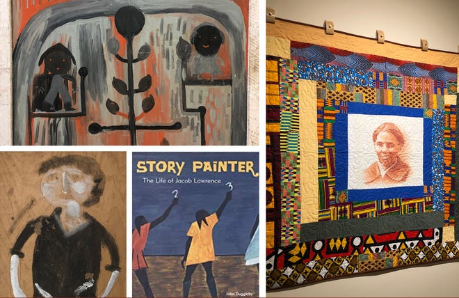 Clockwise from top, painting by Mose Tolliver; Harriet Tubman Quilt by Mary Roberts, portrait by Jimmy Sudduth; and Story Painter, The Life of Jacob Lawrence, a new book in the ArtZone Children's Library collection.