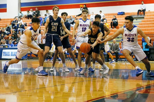 Americas goes against Coronado Friday, Feb. 7, in District 1-6A boys basketball at Americas High School in El Paso.