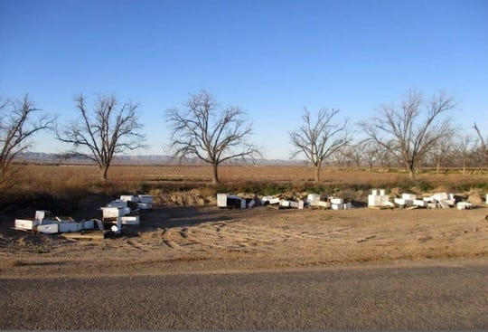 A suspect is being sought by law enforcement in connection with the destruction of several beehives and deaths of hundreds of honeybees in Fabens.