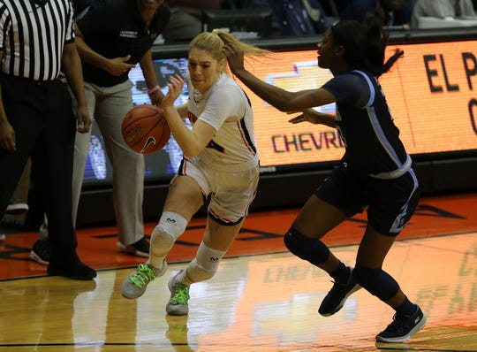 Katarina Zec drives the ball against Old Dominion Saturday at the Don Haskins Center