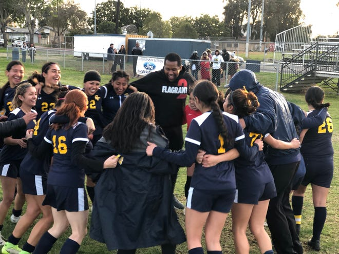 The Santa Clara High girls soccer team celebrates clinching the Frontier League championship on Tuesday with a 2-0 win over visiting Thacher. Santa Clara is the top seed for the CIF-SS Division 7 playoffs.