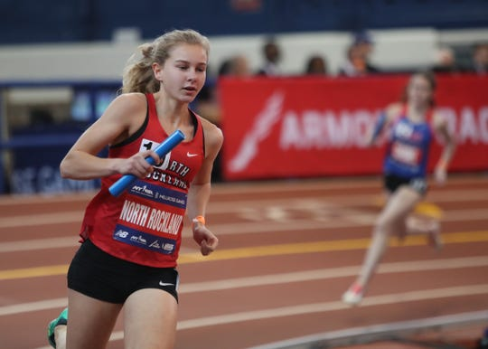 North Rockland's Katelyn Tuohy runs the final leg of the the Girls 4x800-meter relay at the Millrose Games at The Armory New Balance Track & Field Center in New York on Saturday, February 8, 2020.