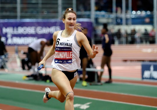 Bronxville's Caroline Ircha runs a leg of the Girls 4x400-meter relay at the Millrose Games at The Armory New Balance Track & Field Center in New York on Saturday, February 8, 2020.