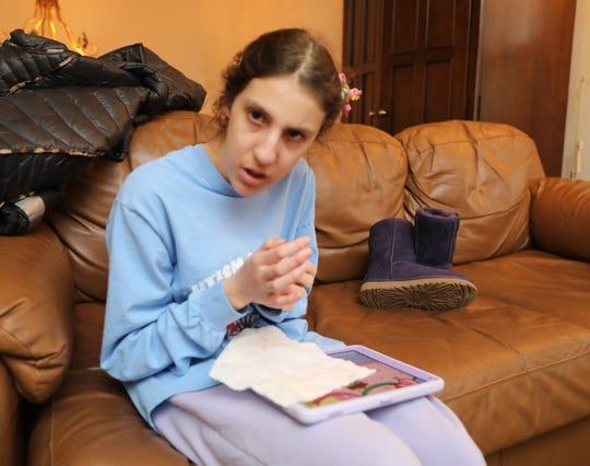 Samara Klein, 17 1/2 is pictured at Rhonda Parsons' home in Wesley Hills, Feb. 8, 2020.