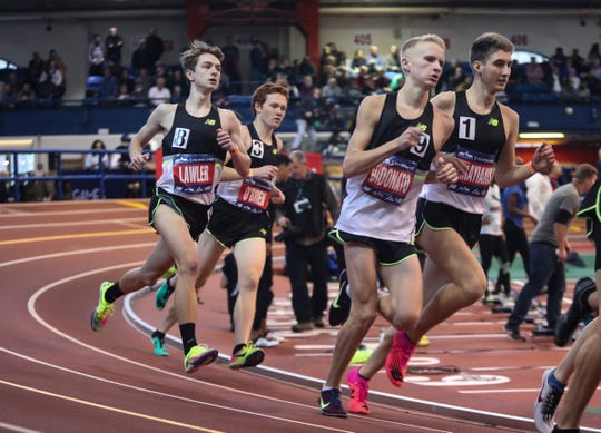 Pittsford's Sam Lawler runs the New Balance Invitational Mile at the Millrose Games at The Armory New Balance Track & Field Center in New York on Saturday, February 8, 2020.