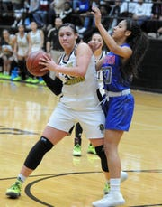 Rider's Addy Self is defended by Abilene Cooper's Keiana Kemp in District 4-5A action at Rider Fieldhouse on Friday, Feb. 7, 2020.