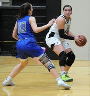 Rider's Addy Self is defended by Abilene Cooper's Bri Garcia in District 4-5A action at Rider Fieldhouse on Friday, Feb. 7, 2020.