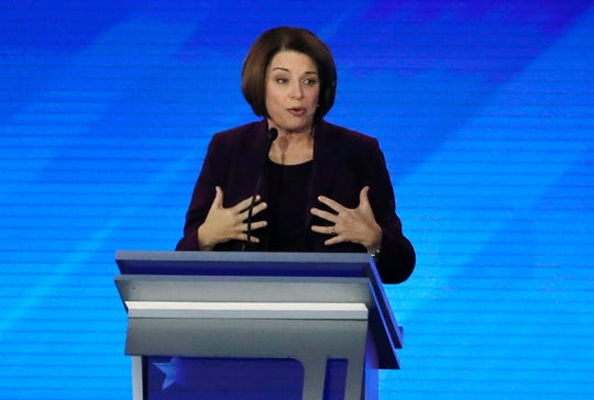 Democratic presidential candidate Sen. Amy Klobuchar, D-Minn., speaks during a Democratic presidential primary debate, Friday, Feb. 7, 2020, hosted by ABC News, Apple News, and WMUR-TV at Saint Anselm College in Manchester, N.H. (AP Photo/Elise Amendola)