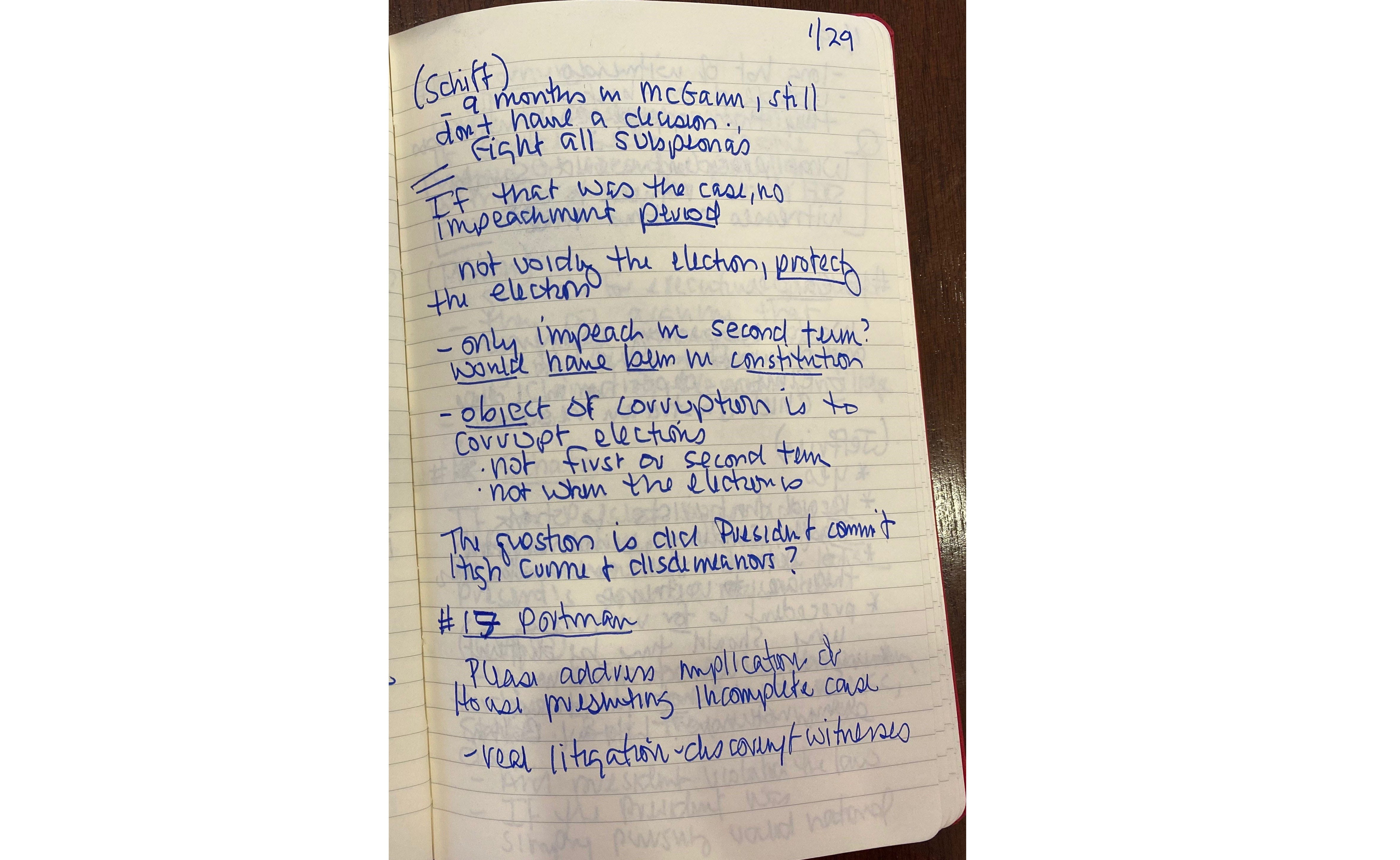 Notes used by Sen. Tina Smith (D-MN) during the impeachment trial of US President Donald J. Trump.