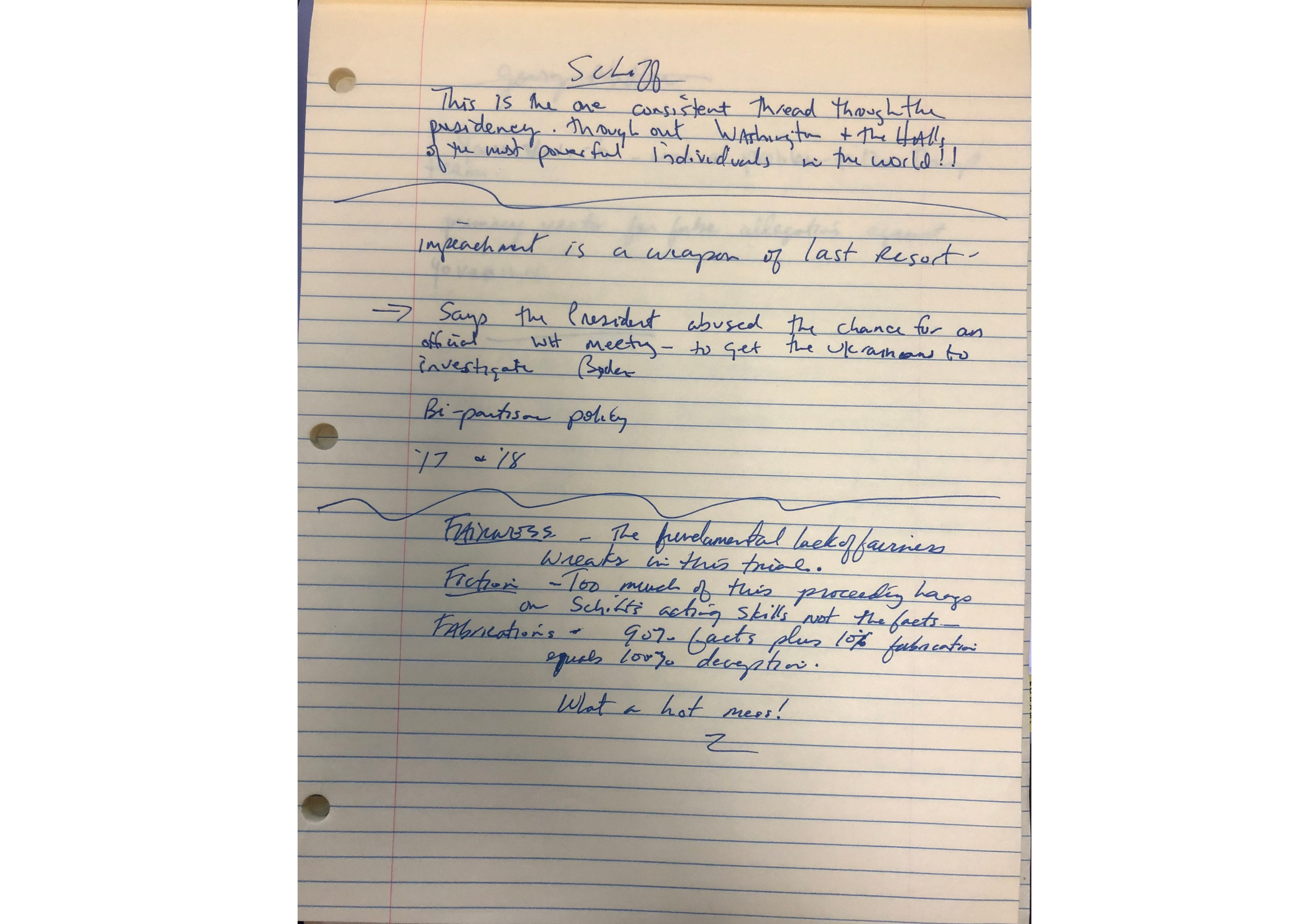 Notes from Sen. Tim Scott, R-S.C., during the impeachment trial of President Donald Trump.