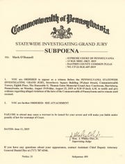 A subpoena document from Pennsylvania provided to Mark O'Donnell.