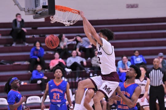 McMurry's Krishawn Terry (2) throws down a dunk against Louisiana College at Kimbrell Arena on Saturday. The War Hawks suffered their third-straight loss, 67-57.