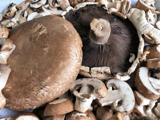 When small white button or tan bella mushrooms are grown a few more days, the caps reach 4 to 6 inches in diameter and are called portobello mushrooms.