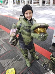 Lillian Archie, 8, attends a Halo Convention in Chicago where she dressed up in cosplay.