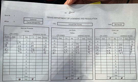 The judges' scorecards for the Jon Jones and Dominick Reyes fight.