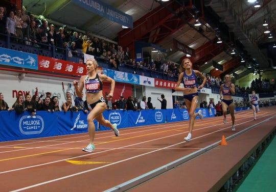 Ellie Purrier  (USA) defeats Konstanze Klosterhalfen (GER) to win the women's Wanamaker mile in an American record 4:16.85 during the 113th Millrose Games at The Armory. Klosterhalfen placed second in a German record 4:17.26.