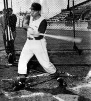 FEBRUARY 28, 1957: Reds Open Training, Klu Takes Cuts: Birdie Tebbetts' Reds launched their 1957 spring training season yesterday, 2/28/57, at Plant Field, Tampa, Fla. Ted Kluszewski stepping into a pitch during the batting drill. Big Klu, scaling lighter than a year ago, says the hip muscle that troubled him last season, bothered him not at all when swinging. The Enquirer/Carl Wellinger scanned February 9, 2011