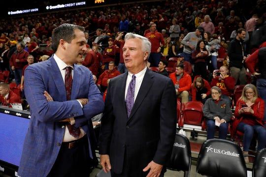 Iowa State coach Steve Prohm, left, talks with Kansas State coach Bruce Weber before an NCAA college basketball game Saturday, Feb. 8, 2020, in Ames, Iowa. (AP Photo/Matthew Putney)