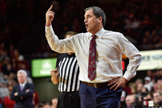 Feb 8, 2020; Ames, Iowa, USA; Iowa State Cyclones head coach Steve Prohm reacts during the first half against the Kansas State Wildcats at Hilton Coliseum. Mandatory Credit: Jeffrey Becker-USA TODAY Sports