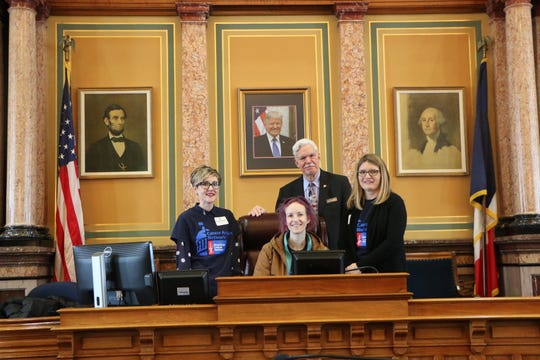 Pictured with Rep. Gustafson are Patient Advocates for American Cancer Society: Morgan Newman (Winterset), Sara Comstock (Norwalk) and Emily Hoffman (St. Charles).