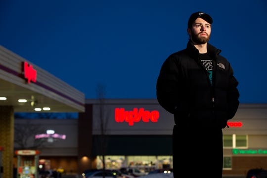 Angelo Rossi works the third shift at Dee Zee Manufacturing and often shops at the 24 hour Hy-Vee or Walmart on Des Moines' Southside. Here he poses for a portrait outside Hy-Vee on Saturday, Feb. 8, 2020, in Des Moines.
