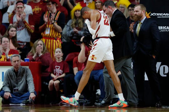 Iowa State guard Tyrese Haliburton walks off the court after an injury during the first half of an NCAA college basketball game against Kansas State, Saturday, Feb. 8, 2020, in Ames, Iowa. (AP Photo/Matthew Putney)