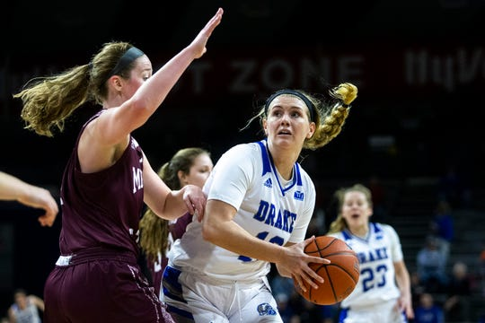 Drake's Brenni Rose tries to get past Missouri State defender Abby Hipp during the Missouri State at Drake women's basketball game on Sunday, Feb. 9, 2020, at the Knapp Center in Des Moines.