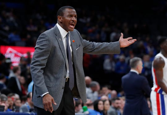 Dwane Casey reacts to a call during the road game against Oklahoma City, Feb. 7, 2020.