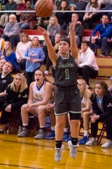 North's Maddy Haynes (1) takes a three-point shot during the IHSAA Class 4A girls basketball sectional championship game against the Castle Lady Knights at Harrison High School Saturday evening, Feb. 8, 2020.