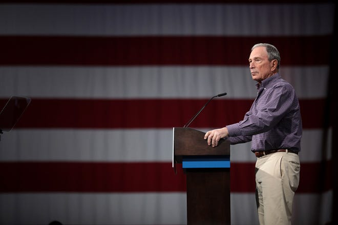 Former Mayor Michael Bloomberg speaking with attendees at the Presidential Gun Sense Forum hosted by Everytown for Gun Safety and Moms Demand Action at the Iowa Events Center in Des Moines, Iowa.