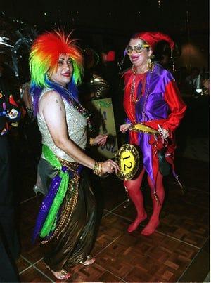 Rose Sgambelluri and Donna Kloppenburg at the Guam Women's Club Mardi Gras at the Hyatt Regency Hotel, Tumon, Guam.
