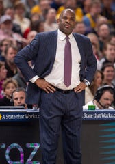 Indiana Pacers head coach Nate McMillan reacts to the action on the court during the first half of an NBA basketball game against the New Orleans Pelicans, Saturday, Feb. 8, 2020, in Indianapolis at Bankers Life Fieldhouse.