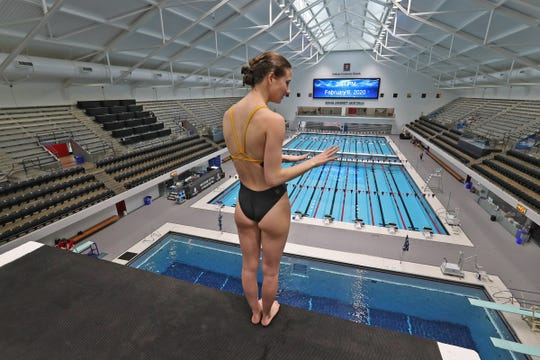 Plainfield High School diver Daryn Wright gets ready to take a dive off the 10m platform during practice at the IUPUI Natatorium, Thursday, Feb. 6 2020.