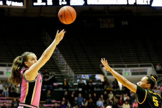 Purdue guard Cassidy Hardin (5) goes up for three during the first quarter of a NCAA women's basketball game, Sunday, Feb. 9, 2020 at Mackey Arena in West Lafayette.