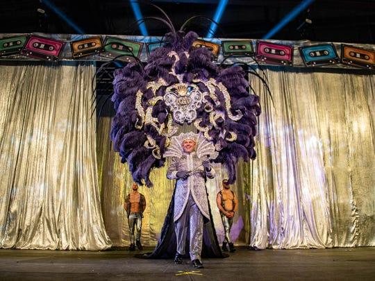 King Aplool XLIV David D'Aquin presents himself to the crowd Saturday, Jan. 8, 2020.