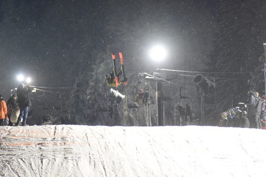 The 40-foot jump allowed participants to get high into the air Saturday night.