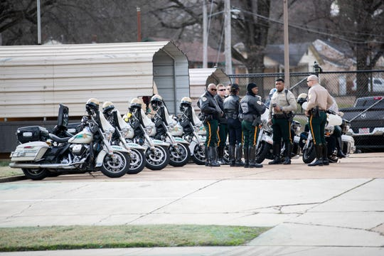 Law enforcement gather to escort the caravan for the State of Emergency Ride on Sunday, Feb. 9, 2020, in Memphis.