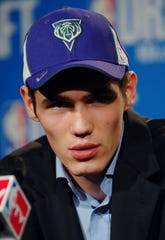Ersan Ilyasova talks to the media after he is chosen by the Milwaukee Bucks as the 36th overall pick of the 2005 NBA Draft Tuesday, June 28, 2005 in New York.