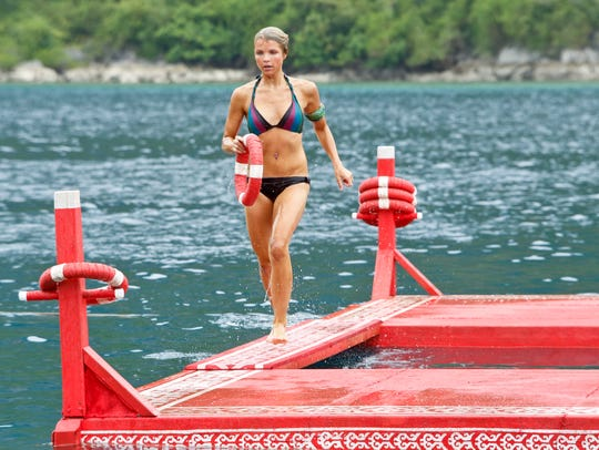 "Andrea Boehlke competes in the immunity challenge during the 10th episode of ""Survivor: Caramoan — Fans vs. Favorites."""